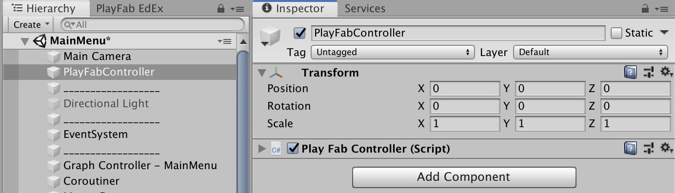 PlayFabControllerをアタッチ